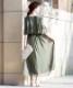 レースフレアスリーブロングドレス