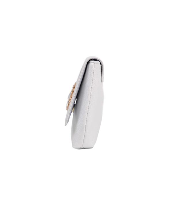 3WAY ビジュー モチーフの 箔加工 ラメ レザーバッグ