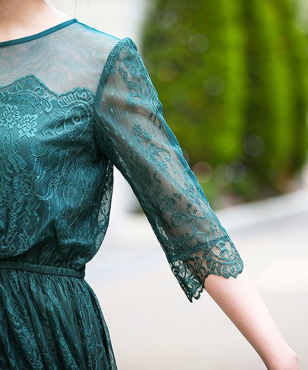 チュール×パネルレースワンピースドレス
