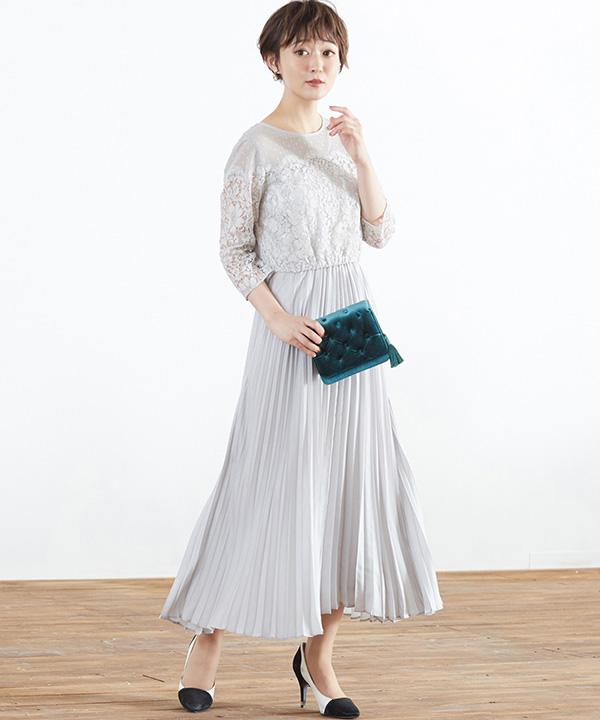 ドットチュール プリーツワンピースドレス