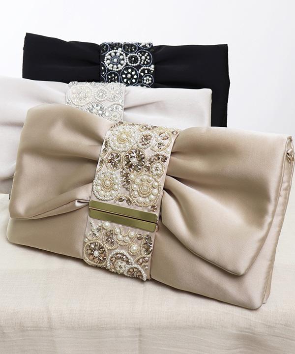 パール&ビーズ刺繍のパーティーバッグ