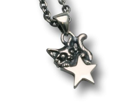 小さな星とネコのペンダント チェーン40cm付き