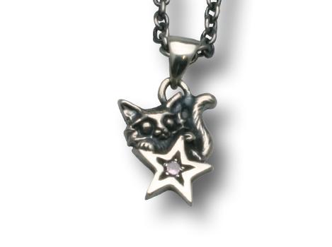 小さな願い星とネコのペンダント ピンク チェーン40cm付き