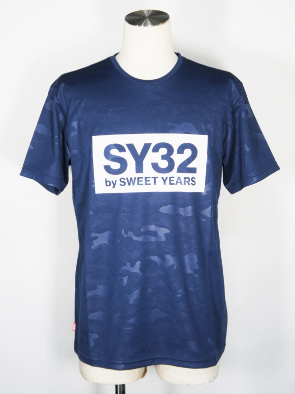 SY32 by SWEET YEARS「EMBOSS CAMO BOX LOGO TEE」NAVY