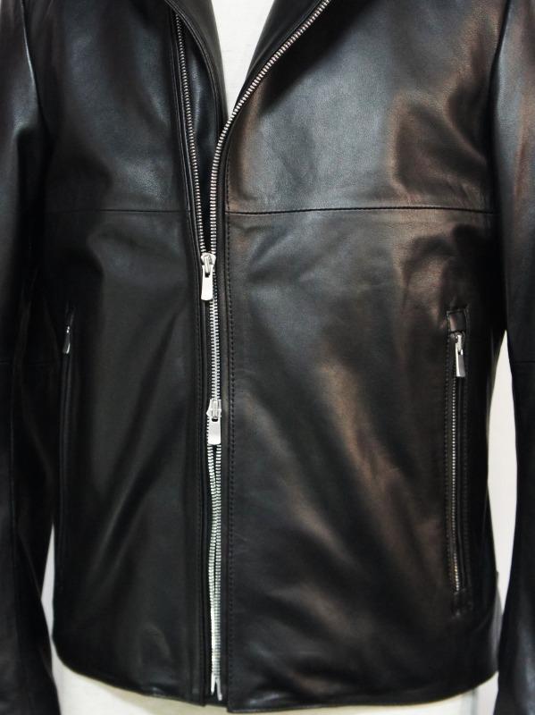 5351POUR LES HOMMES「セミダブル ライダース ジャケット」ブラック