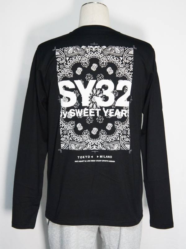 SY32 by SWEET YEARS「PAISLEY BACK PRINT L/S TEE」BLACK