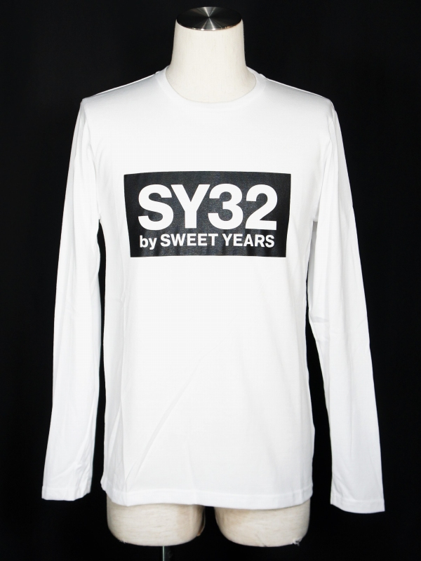 SY32 by SWEET YEARS「BOX LOGO L/S TEE」WHITE×BLACK