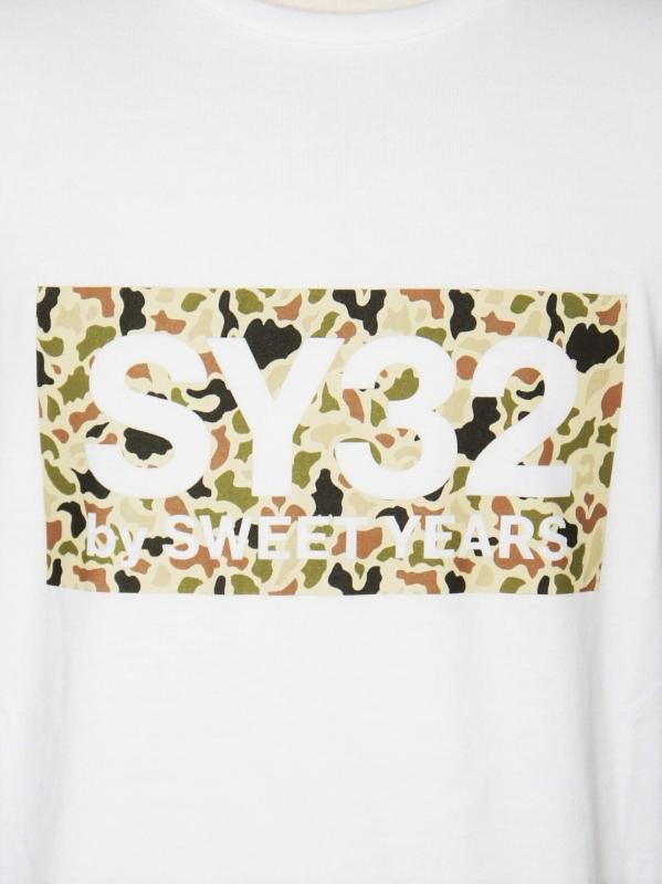 SY32 by SWEET YEARS「BOX LOGO L/S TEE」WHITE×CAMO