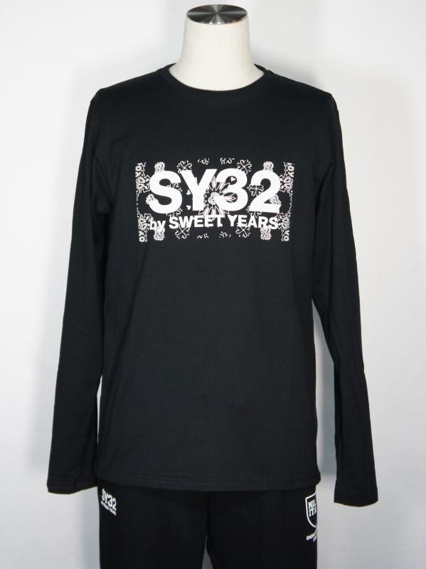 SY32 by SWEET YEARS「PAISLEY BOX LOGO L/S TEE-TNS」BLACK