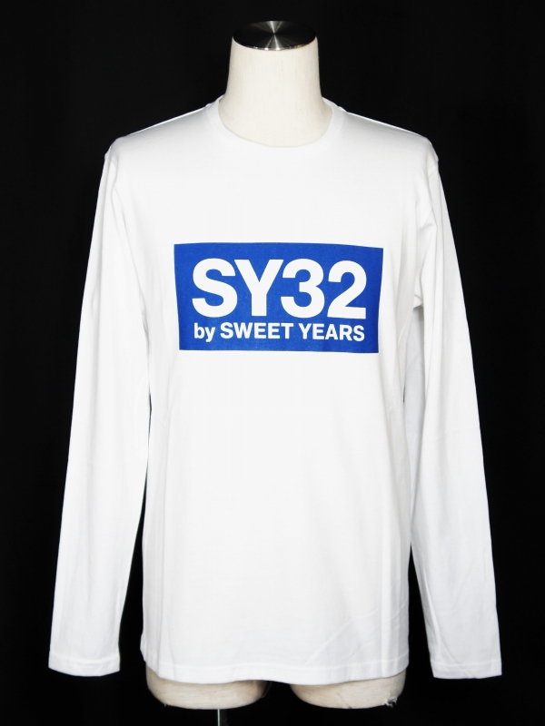 【20%OFF】SY32 by SWEET YEARS「BOX LOGO L/S TEE」WHITE×BLUE