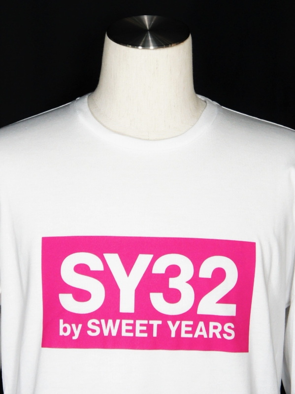 【20%OFF】SY32 by SWEET YEARS「BOX LOGO L/S TEE」WHITE×PINK