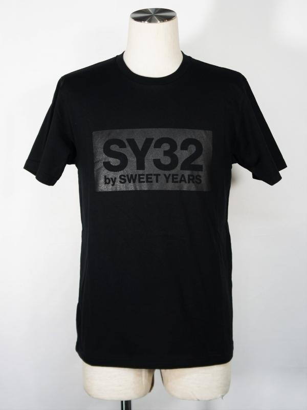 SY32 by SWEET YEARS「BOX LOGO TEE」BLACK×BLACK