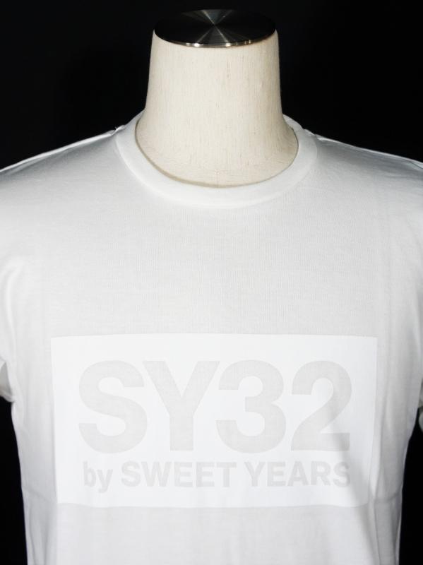 SY32 by SWEET YEARS「BOX LOGO TEE」WHITE×WHITE