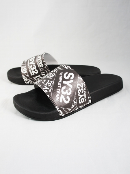 SY32 by SWEET YEARS「SHOWER SANDALS (BOX LOGO)」BLACK