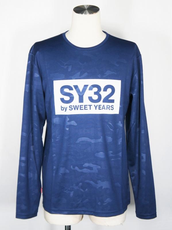 SY32 by SWEET YEARS「EMBOSS CAMO BOX LOGO L/S TEE」NAVY