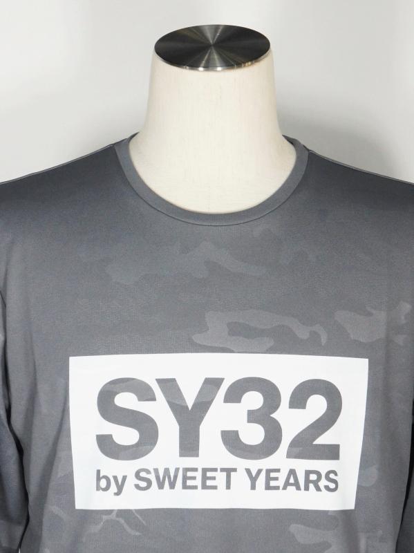 SY32 by SWEET YEARS「EMBOSS CAMO BOX LOGO L/S TEE」GRAY