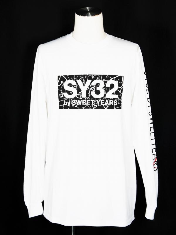 SY32 by SWEET YEARS「HEART BOX LOGO L/S TEE」WHITE×BLACK
