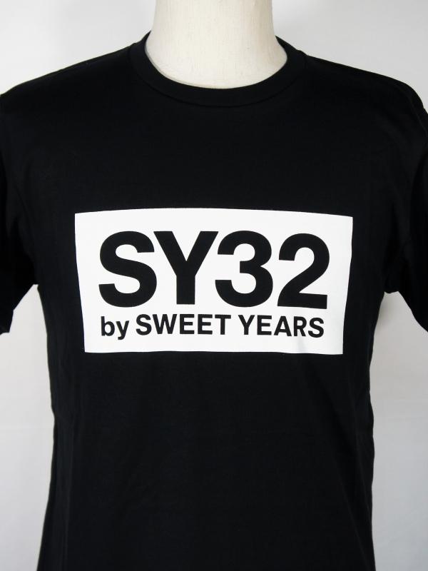 SY32 by SWEET YEARS「BOX LOGO TEE」BLACK×WHITE
