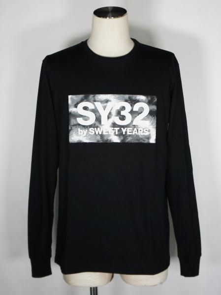 SY32 by SWEET YEARS「TIE DYE BOX LOGO L/S TEE」BLACK