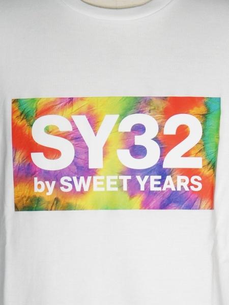 SY32 by SWEET YEARS「TIE DYE BOX LOGO L/S TEE」WHITE