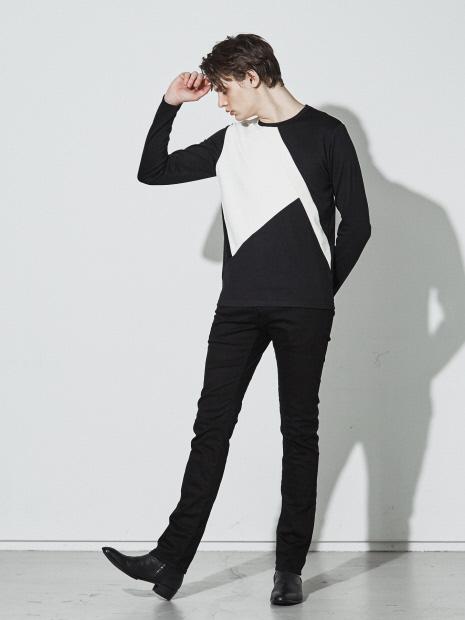 5351POUR LES HOMMES「カラーブロック ロング Tシャツ」ブラック_1