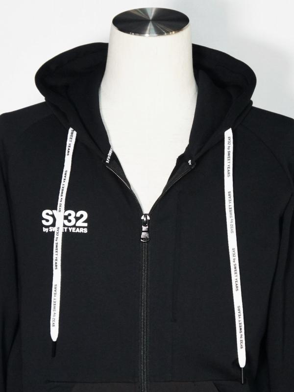 SY32 by SWEET YEARS「HYDROFUGE HOODIE」BLACK×WHITE