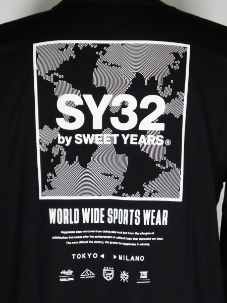 SY32 by SWEET YEARS「SQUARE MULTI LOGO L/S TEE」BLACK