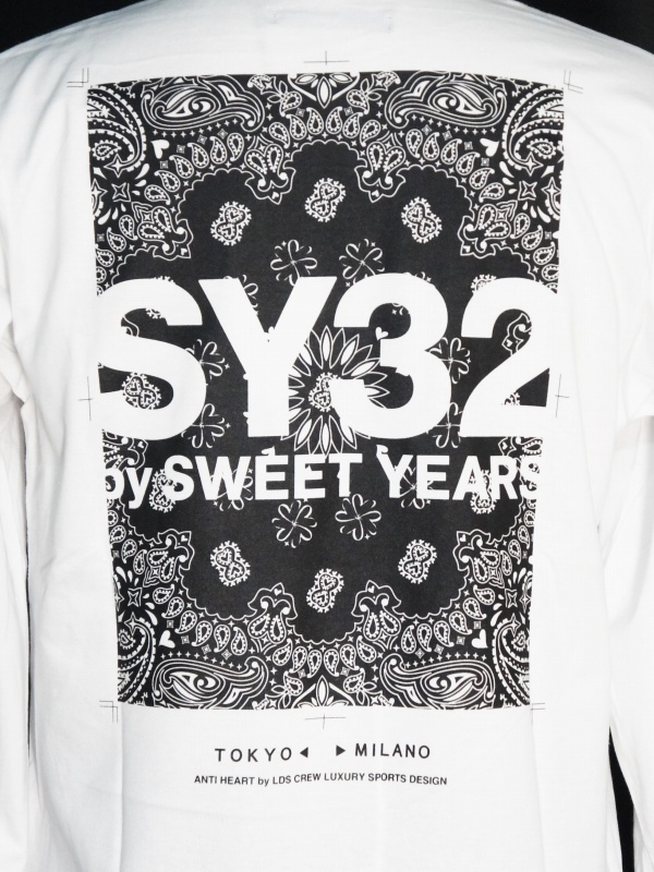 SY32 by SWEET YEARS「PAISLEY BACK PRINT L/S TEE」WHITE
