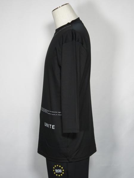 5351POUR LES HOMMES「グラフィック クルーネック 七部袖 Tシャツ」ブラック