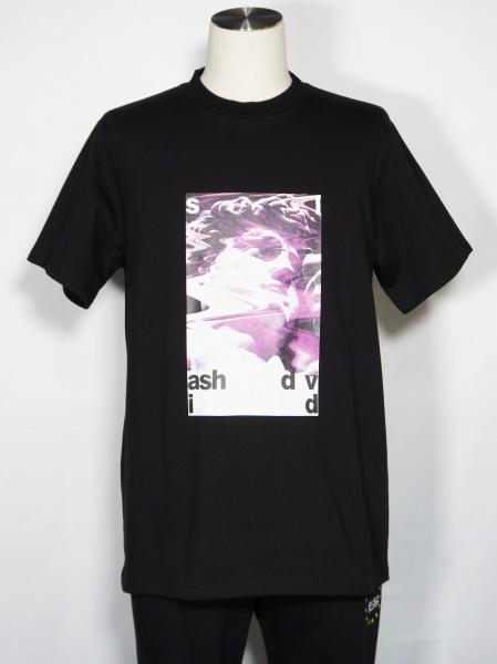 5351POUR LES HOMMES「 【5/】プレーティング天竺 半袖 グラフィック Tシャツ」ブラック