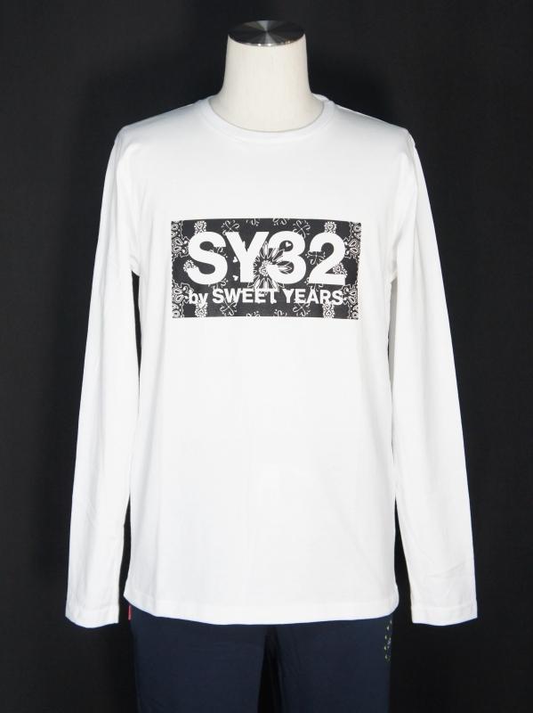 SY32 by SWEET YEARS「PAISLEY BOX LOGO L/S TEE-TNS」WHITE