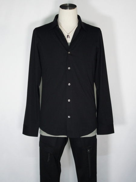 5351POUR LES HOMMES「圧着カジュアルドレス シャツ」ブラック