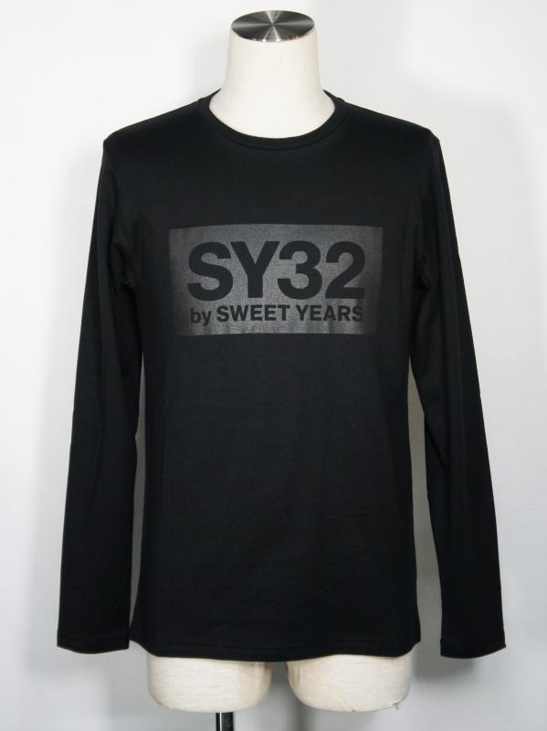 SY32 by SWEET YEARS「BOX LOGO L/S TEE」BLACK×BLACK