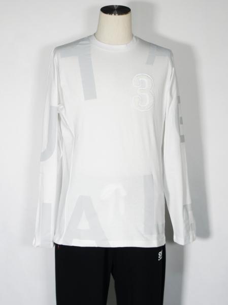 1PIU1UGUALE3 RELAX「ランダムロゴ長袖Tシャツ」WHITE