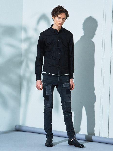 5351POUR LES HOMMES「 レーヨン ナイロン ツイル ワッシャーシャツ」ブラック