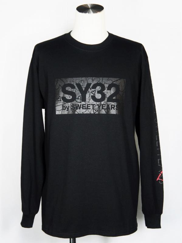 SY32 by SWEET YEARS「HEART BOX LOGO L/S TEE」BLACK×BLACK
