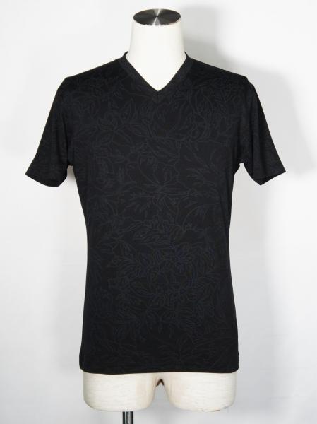 5351POUR LES HOMMES「フラワープリント 半袖 Vネック Tシャツ」ブラック