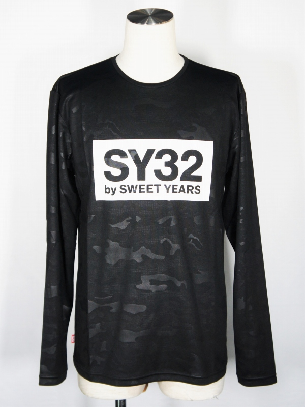 SY32 by SWEET YEARS「EMBOSS CAMO BOX LOGO L/S TEE」BLACK×WHITE