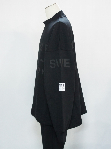 SY32 by SWEET YEARS「BIG SILHOUETTE HEAVY P/O CREW」BLACK【エスワイサーティトゥバイスウィートイヤーズ・プルオーバークルー・ブラック】