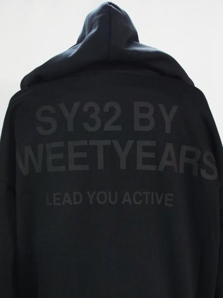 SY32 by SWEET YEARS「BIG SILHOUETTE HEAVY ZIP HOODIE」BLACK【エスワイサーティトゥバイスウィートイヤーズ・ジップフーディー・ブラック】