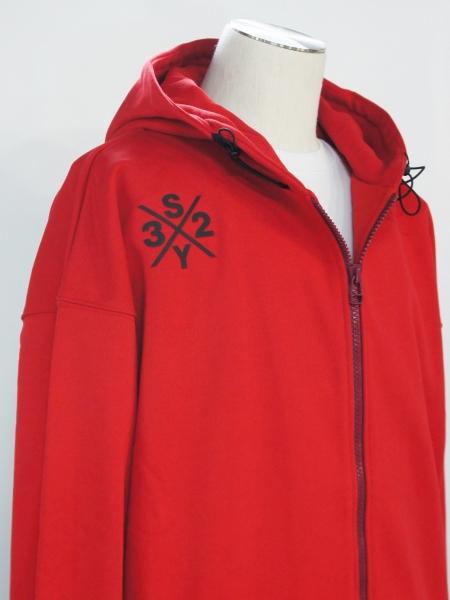SY32 by SWEET YEARS「BIG SILHOUETTE HEAVY ZIP HOODIE」RED【エスワイサーティトゥバイスウィートイヤーズ・ジップフーディー・レッド】