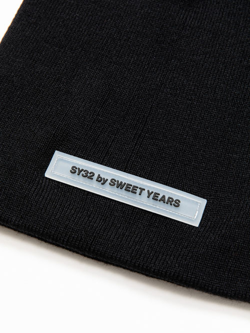 SY32 by SWEET YEARS 「SILICON LOGO KNIT BEANIE」BLACK【エスワイサーティトゥバイスウィートイヤーズ・ニットビーニー・ブラック】