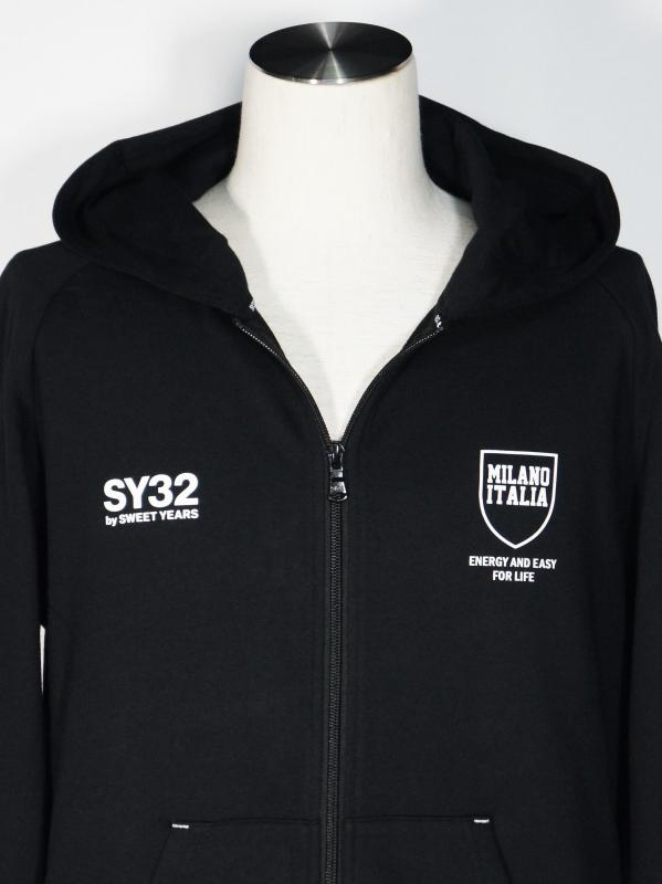 SY32 by SWEET YEARS「SHIELD LOGO ZIP HOODIE」BLACK