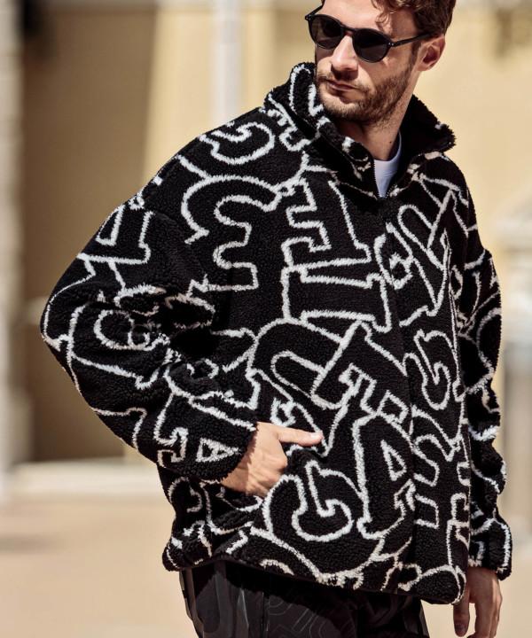 1PIU1UGUALE3 RELAX「総柄ボアロゴトラックジャケット」BLACK【ウノピゥウノウグァーレトレ リラックス】