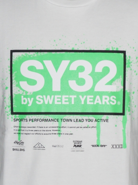 SY32 by SWEET YEARS「FLUORESCENT LOGO TEE」WHITE×GREEN