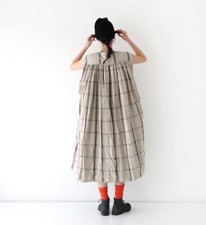 ※Veritecoeur online 限定※<br> NT-023 バンドカラーノースリーブロングシャツ/ CHK