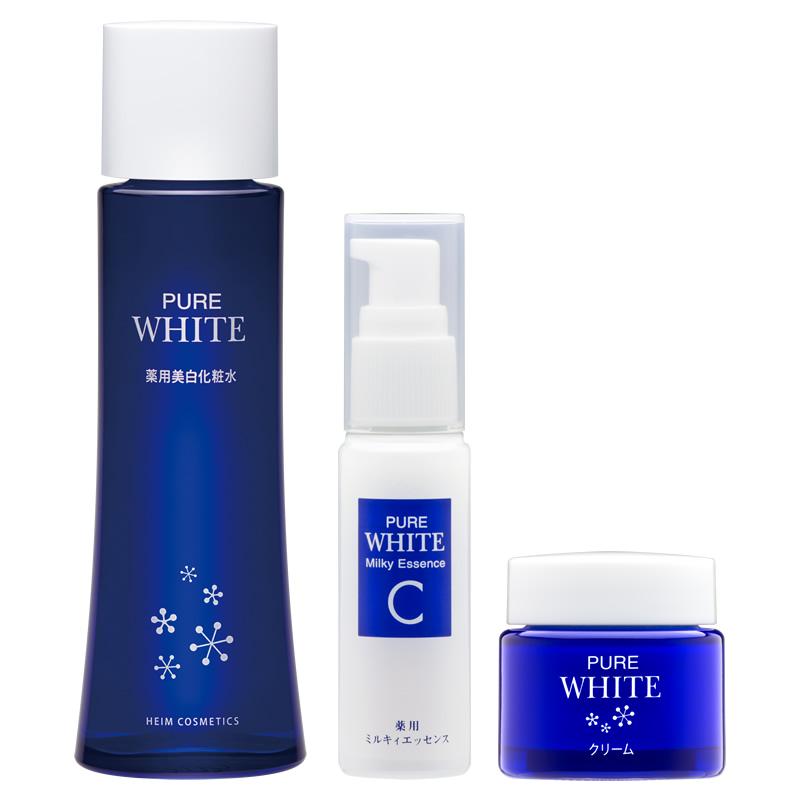 【3点セット】美白ケア:薬用ピュアホワイトシリーズ(化粧水/ミルキィエッセンス/クリーム)