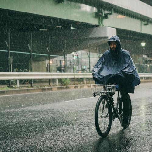 FAIRWEATHER フェアウェザー packable rain poncho navy