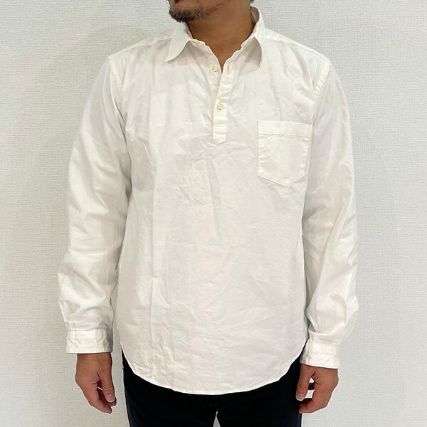 【30%OFFセール】 SPINNER BAIT スピナーベイト 馬布ヴィンテージフィニッシュ プルオーバーシャツ ホワイト