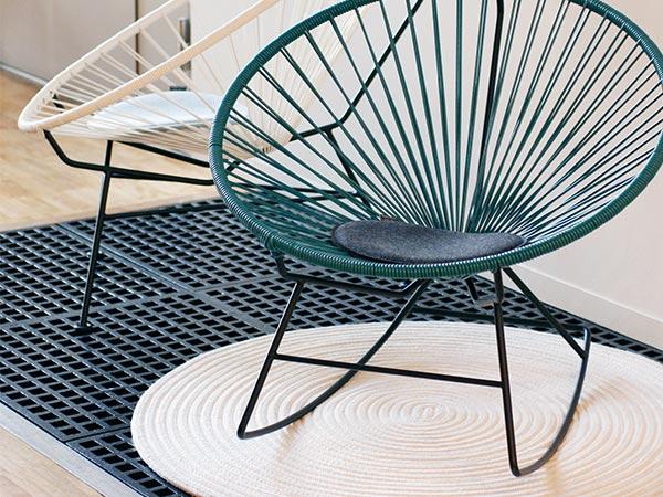 正規品 Violan シート クッション 33cm ラウンド 洗える 円形 丸 座布団 おしゃれ フェルト ブラック グレー ベージュ 椅子用 アカプルコ